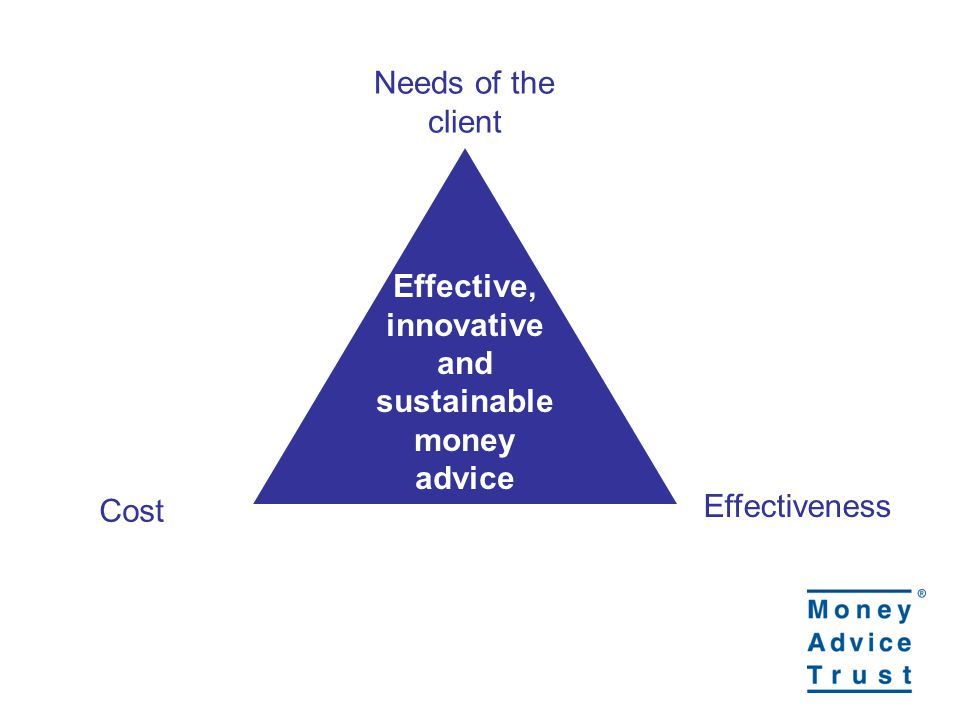 Effective, innovative and sustainable money advice Cost Effectiveness Needs of the client