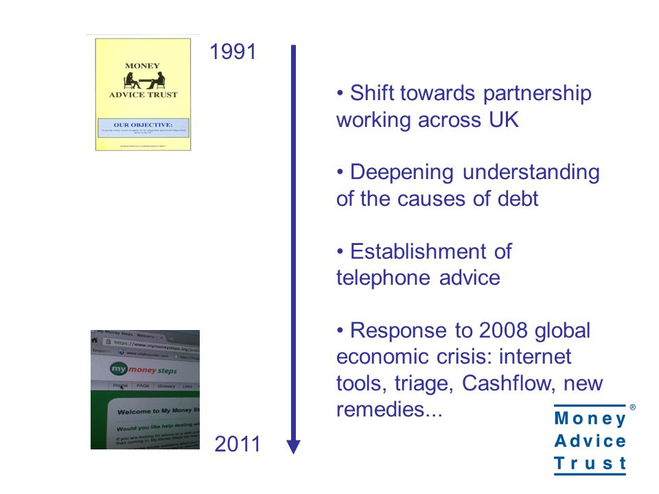 1991 2011 Shift towards partnership working across UK Deepening understanding of the causes of debt Establishment of telephone advice Response to 2008 global economic crisis: internet tools, triage, Cashflow, new remedies...