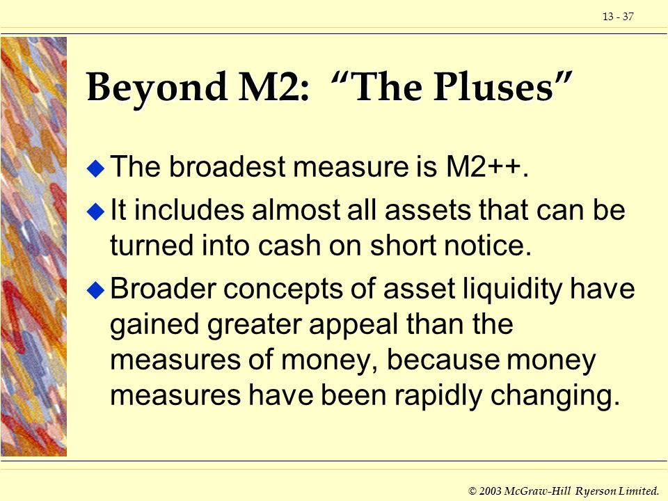 © 2003 McGraw-Hill Ryerson Limited. Beyond M2: The Pluses u The broadest measure is M2++.