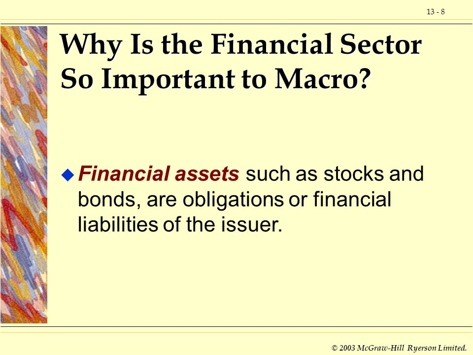 © 2003 McGraw-Hill Ryerson Limited. Why Is the Financial Sector So Important to Macro.