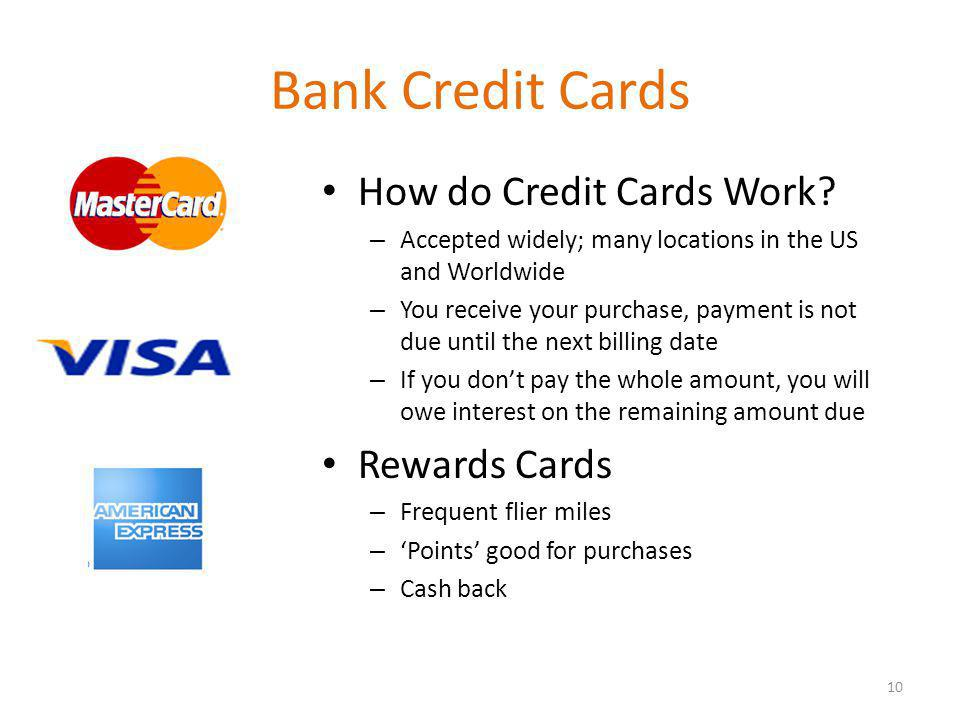 Bank Credit Cards How do Credit Cards Work.