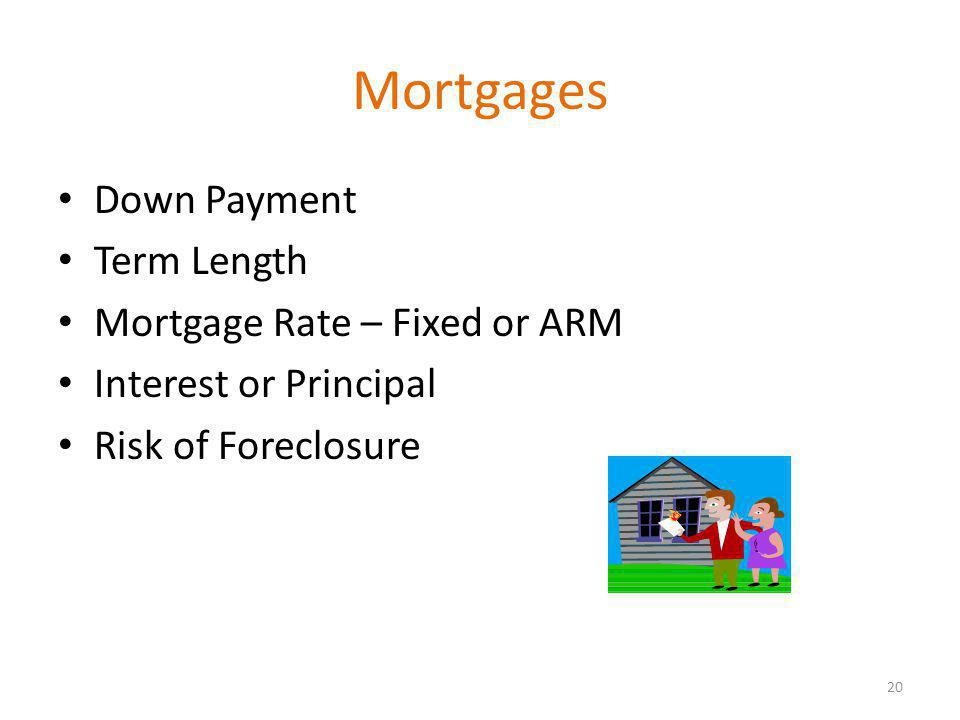 Mortgages Down Payment Term Length Mortgage Rate – Fixed or ARM Interest or Principal Risk of Foreclosure 20