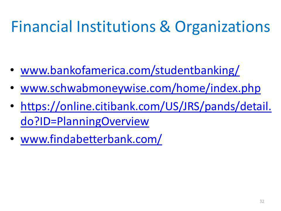 Financial Institutions & Organizations www.bankofamerica.com/studentbanking/ www.schwabmoneywise.com/home/index.php https://online.citibank.com/US/JRS/pands/detail.