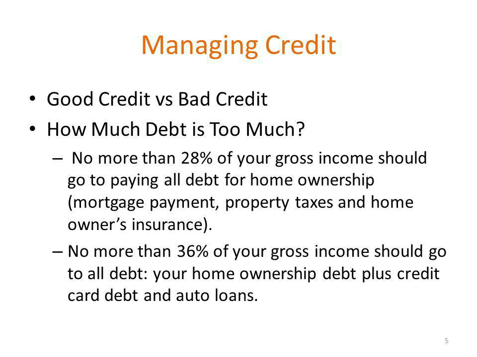 Managing Credit Good Credit vs Bad Credit How Much Debt is Too Much.
