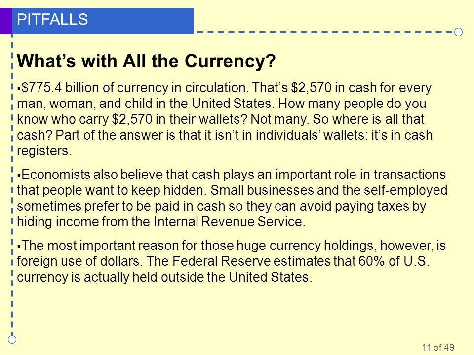 11 of 49 PITFALLS Whats with All the Currency? $775.4 billion of currency in circulation. Thats $2,570 in cash for every man, woman, and child in the