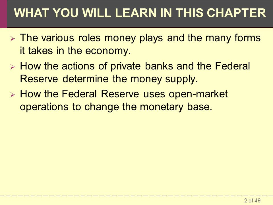 2 of 49 WHAT YOU WILL LEARN IN THIS CHAPTER The various roles money plays and the many forms it takes in the economy. How the actions of private banks