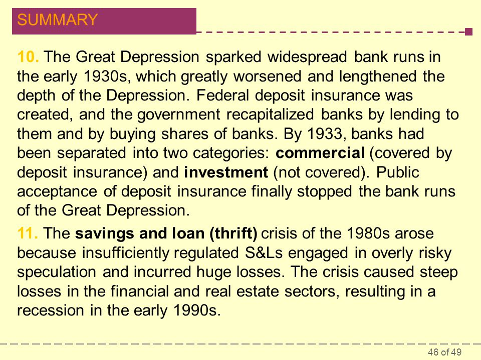 46 of 49 SUMMARY 10. The Great Depression sparked widespread bank runs in the early 1930s, which greatly worsened and lengthened the depth of the Depr