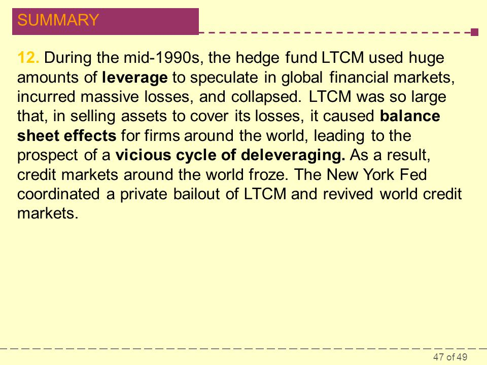 47 of 49 SUMMARY 12. During the mid-1990s, the hedge fund LTCM used huge amounts of leverage to speculate in global financial markets, incurred massiv
