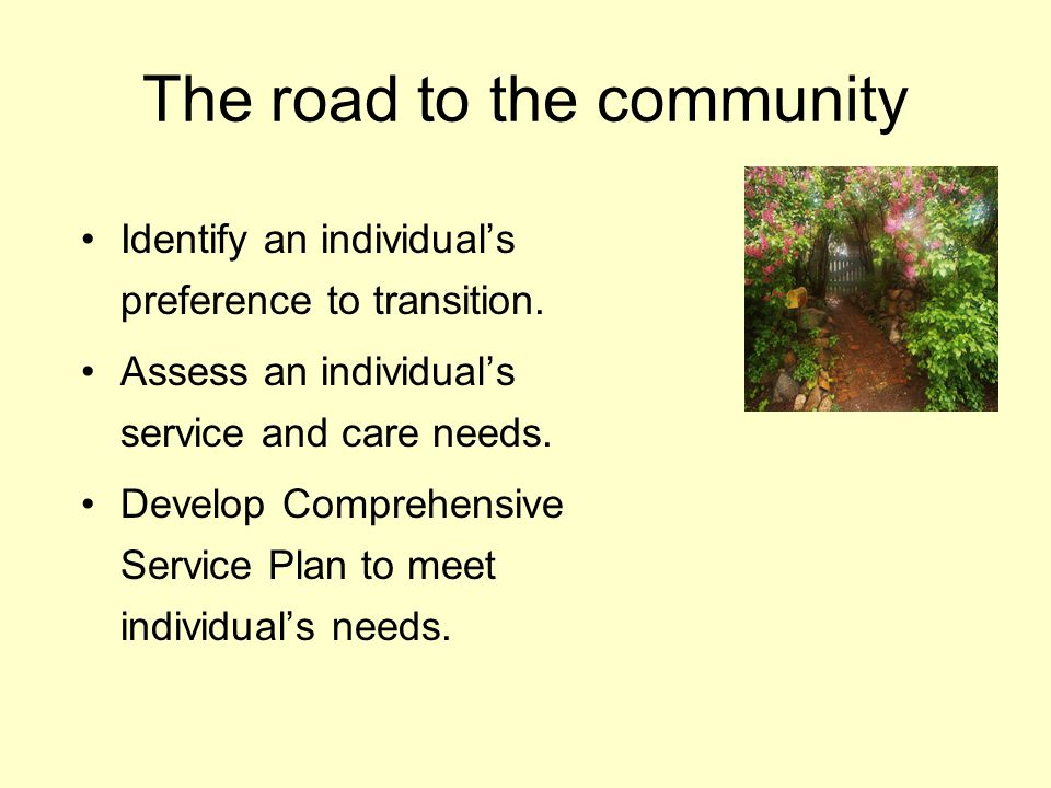 The road to the community Identify an individuals preference to transition. Assess an individuals service and care needs. Develop Comprehensive Servic