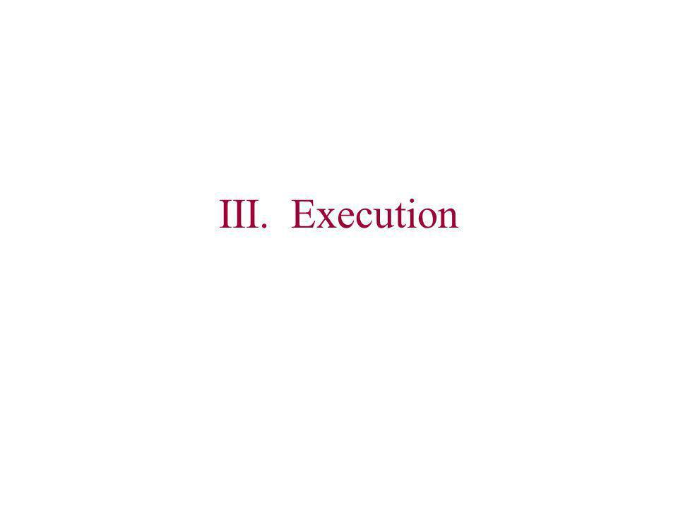 III. Execution