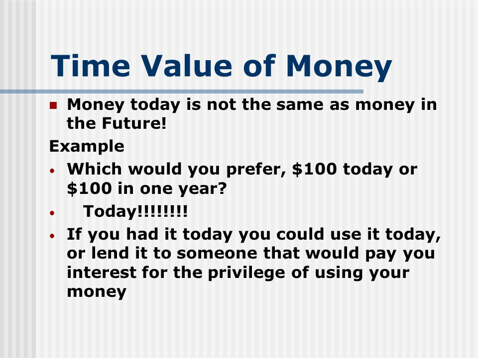 Time Value of Money Money today is not the same as money in the Future.