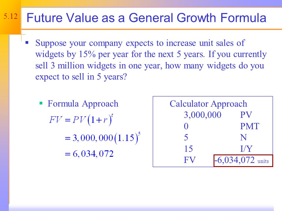5.12 Future Value as a General Growth Formula Suppose your company expects to increase unit sales of widgets by 15% per year for the next 5 years.