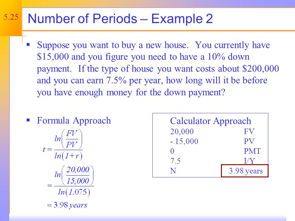 5.25 Number of Periods – Example 2 Suppose you want to buy a new house.