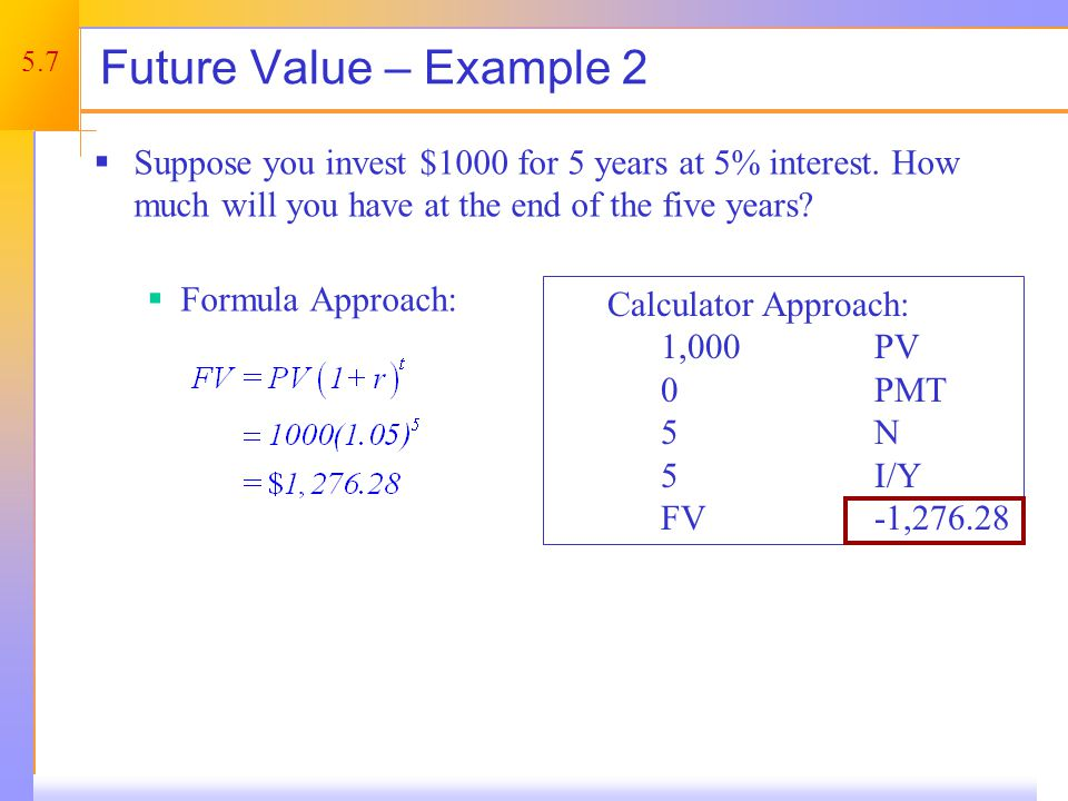 5.7 Calculator Approach: 1,000 PV 0PMT 5N 5I/Y FV -1,276.28 Future Value – Example 2 Suppose you invest $1000 for 5 years at 5% interest.