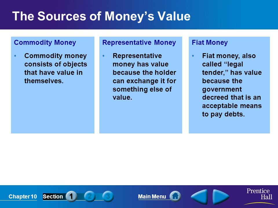 Chapter 10SectionMain Menu Commodity Money Commodity money consists of objects that have value in themselves. Representative Money Representative mone