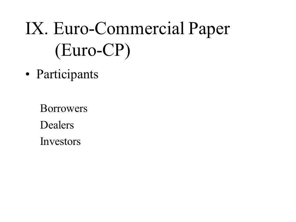 IX. Euro-Commercial Paper (Euro-CP) Participants Borrowers Dealers Investors