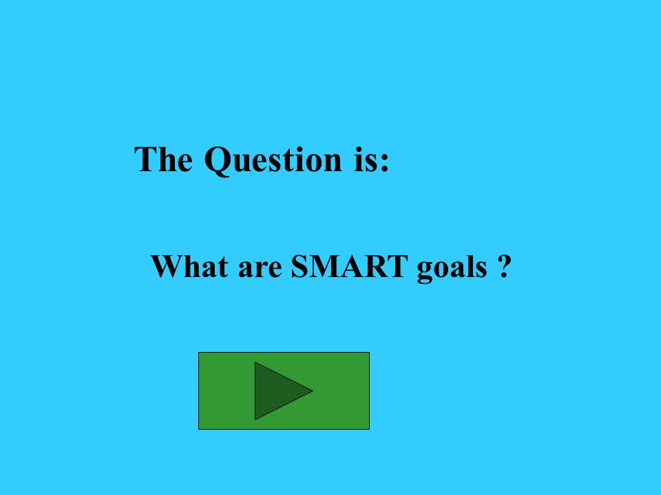 The Answer is: Goals that are specific, measurable, attainable, realistic and time-bound