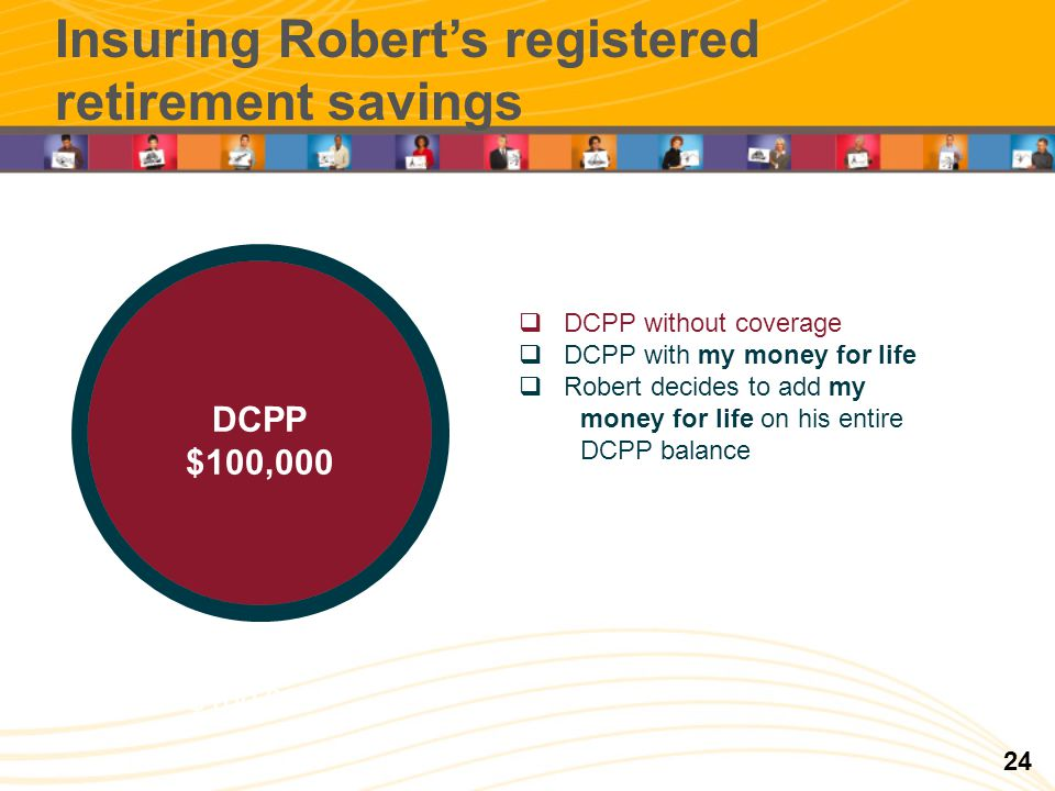 RRCD 100 000 $ REER 50 000 $ Insuring Roberts registered retirement savings DCPP $100 000 DCPP without coverage DCPP with my money for life Robert decides to add my money for life on his entire DCPP balance DCPP $100,000 24