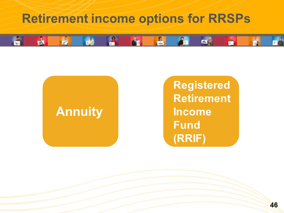 Retirement income options for RRSPs Annuity Registered Retirement Income Fund (RRIF) 46