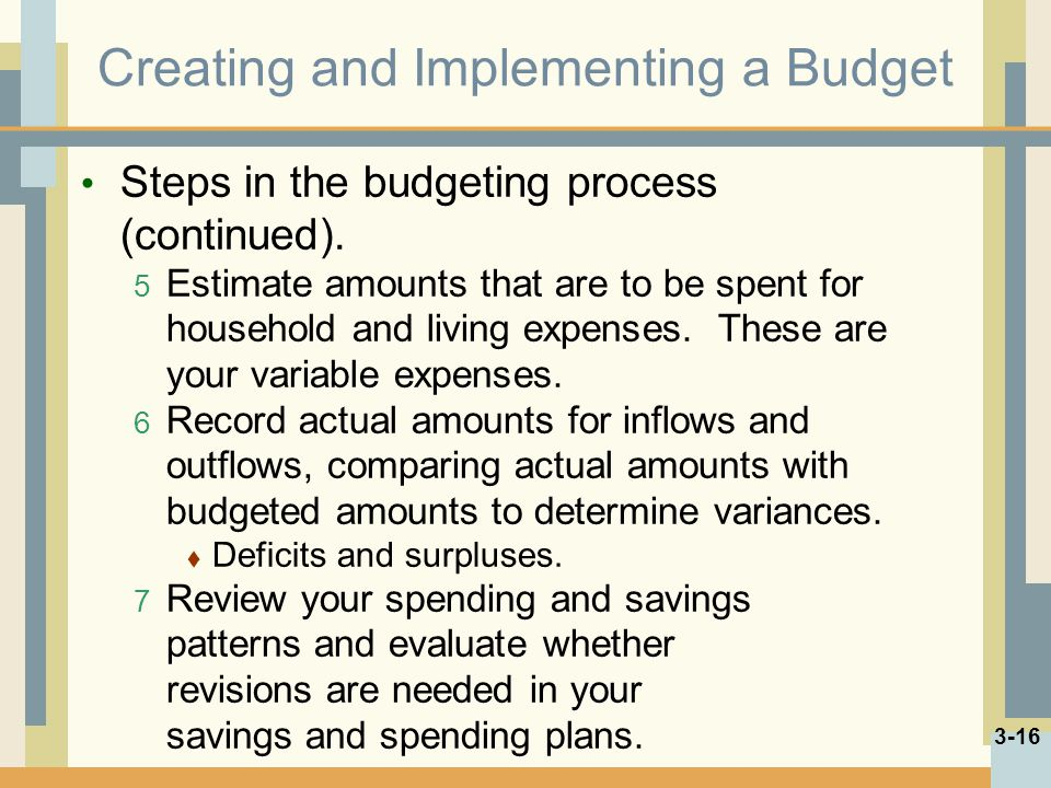 Creating and Implementing a Budget Steps in the budgeting process (continued). 5 Estimate amounts that are to be spent for household and living expens