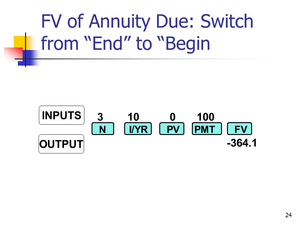 24 310 0 100 -364.1 NI/YRPVPMTFV INPUTS OUTPUT FV of Annuity Due: Switch from End to Begin