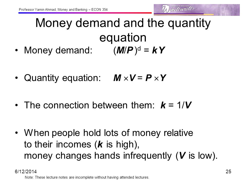 Professor Yamin Ahmad, Money and Banking – ECON 354 Note: These lecture notes are incomplete without having attended lectures. Money demand and the qu