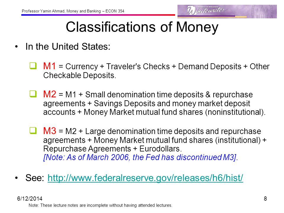 Professor Yamin Ahmad, Money and Banking – ECON 354 Note: These lecture notes are incomplete without having attended lectures.