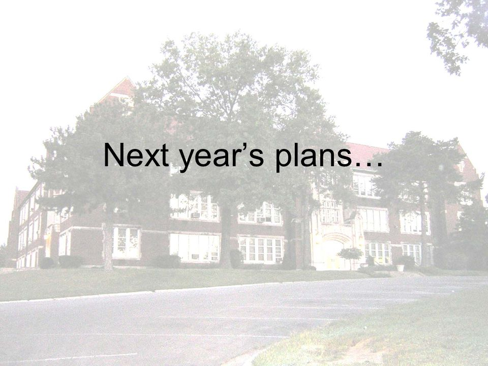 Next years plans…