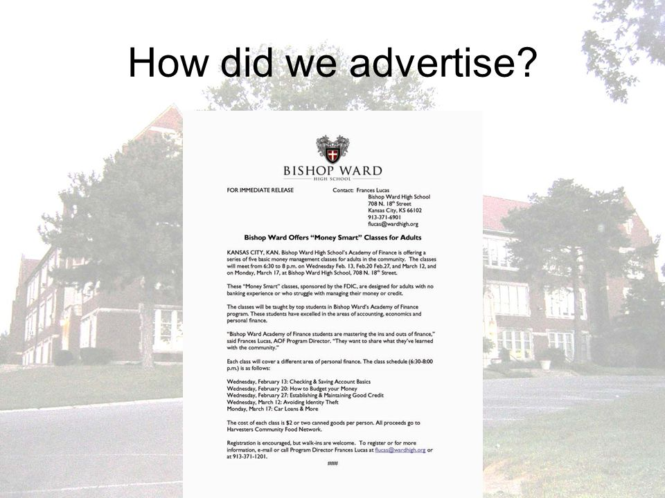 How did we advertise?