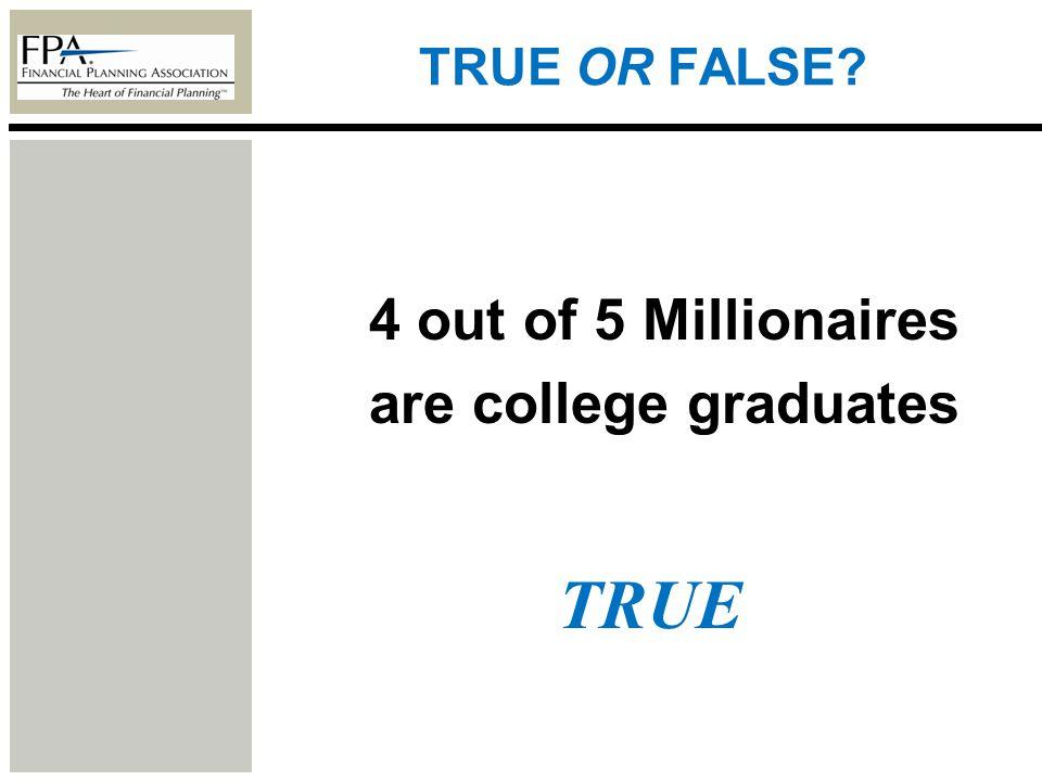 TRUE OR FALSE? 4 out of 5 Millionaires are college graduates TRUE