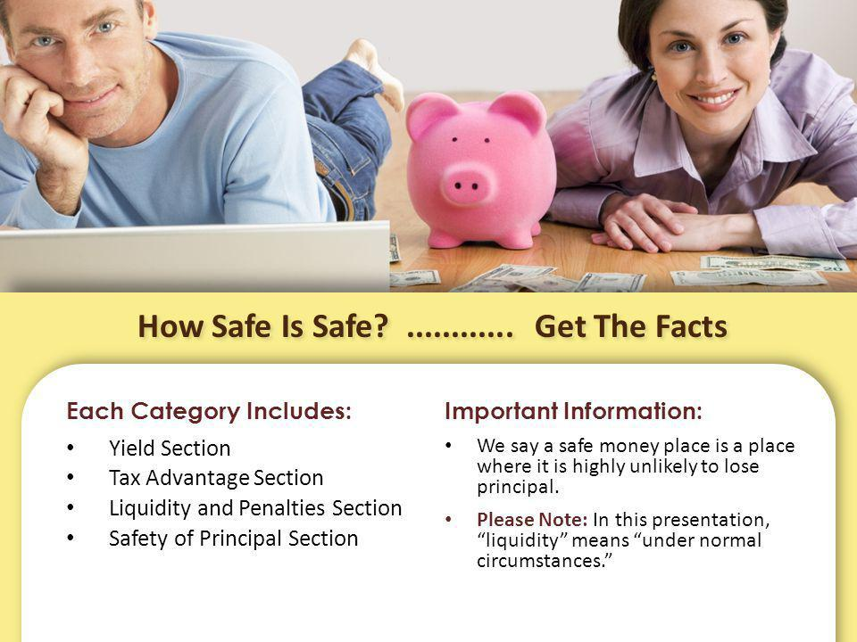 How Safe Is Safe?............ Get The Facts Each Category Includes: Yield Section Tax Advantage Section Liquidity and Penalties Section Safety of Prin
