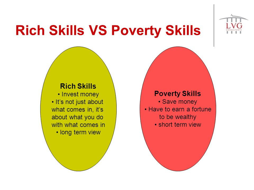Rich Skills VS Poverty Skills Rich Skills Invest money Its not just about what comes in, its about what you do with what comes in long term view Poverty Skills Save money Have to earn a fortune to be wealthy short term view