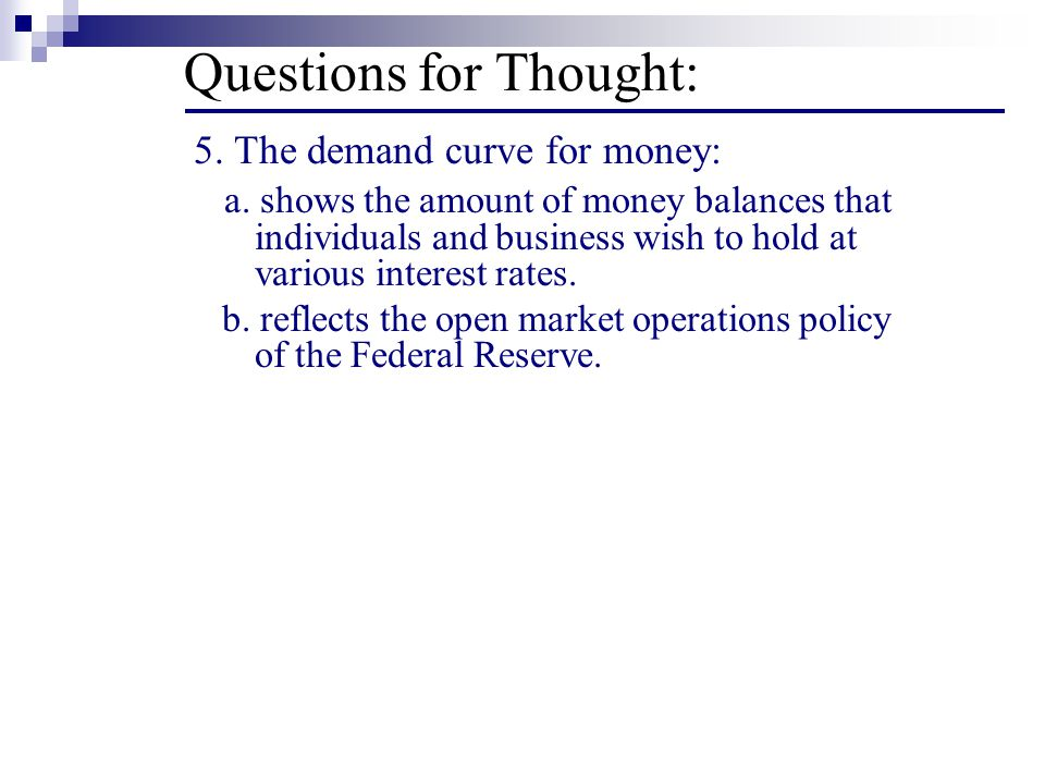 Questions for Thought: 5. The demand curve for money: a.