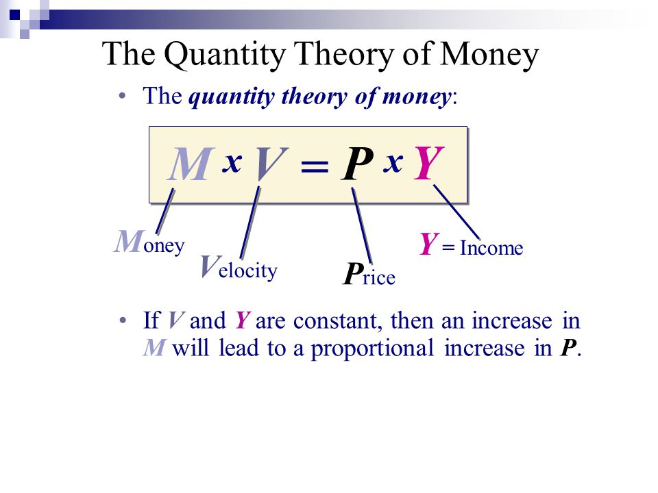 = xx M V P Y M oney V elocity P rice Y = Income The Quantity Theory of Money The quantity theory of money: If V and Y are constant, then an increase in M will lead to a proportional increase in P.