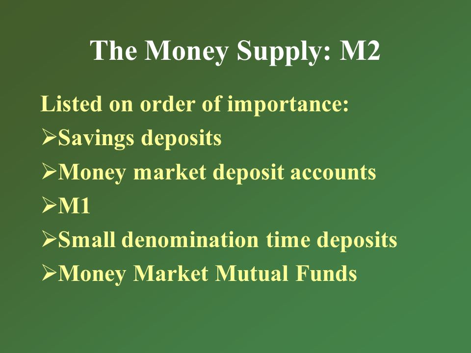 The Money Supply: M2 Listed on order of importance: Savings deposits Money market deposit accounts M1 Small denomination time deposits Money Market Mutual Funds