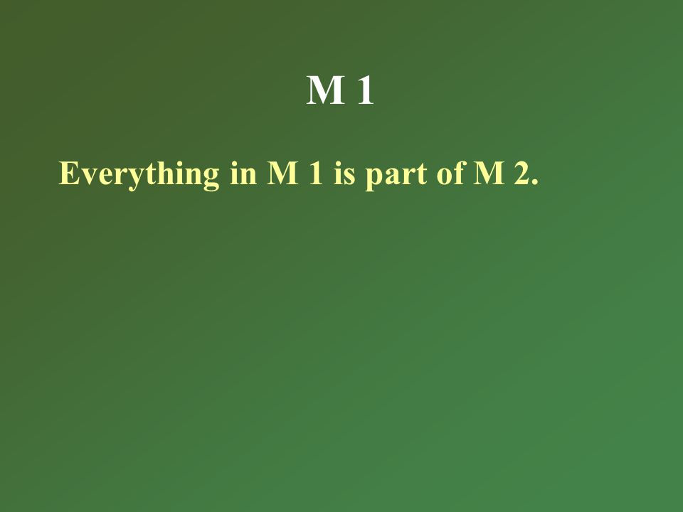 M 1 Everything in M 1 is part of M 2.