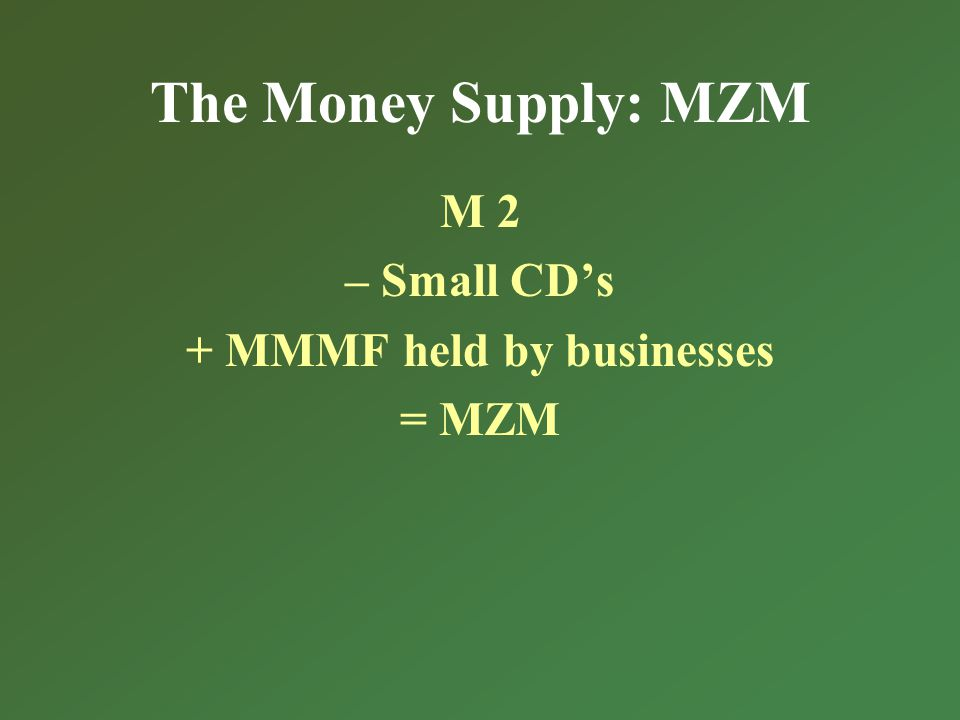 The Money Supply: MZM M 2 – Small CDs + MMMF held by businesses = MZM
