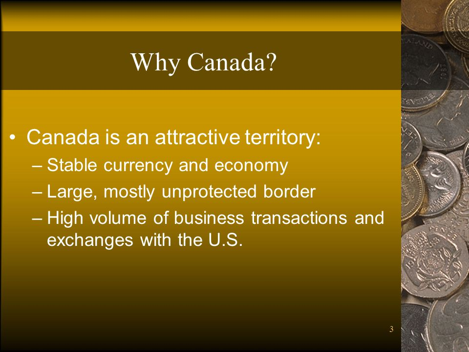 3 Why Canada? Canada is an attractive territory: –Stable currency and economy –Large, mostly unprotected border –High volume of business transactions