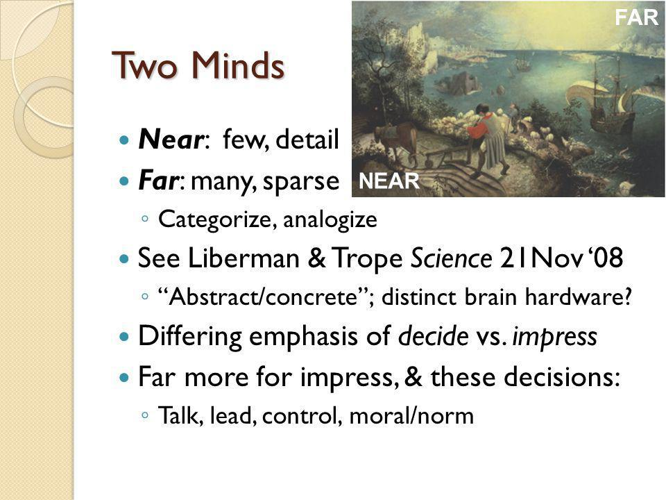 Two Minds Near: few, detail Far: many, sparse Categorize, analogize See Liberman & Trope Science 21Nov 08 Abstract/concrete; distinct brain hardware.