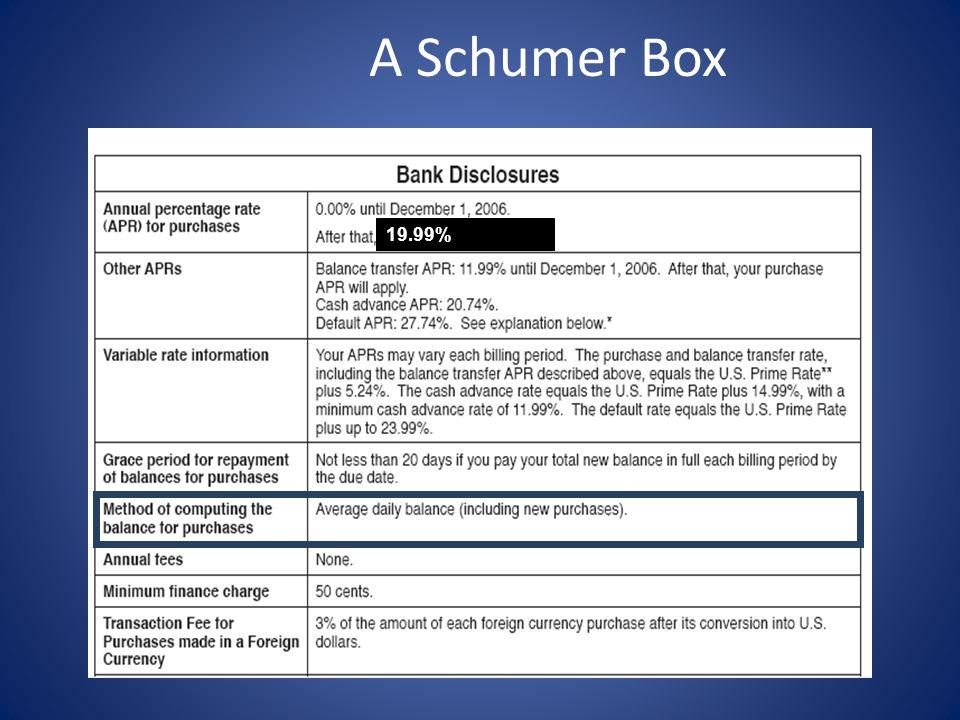 19.99% A Schumer Box