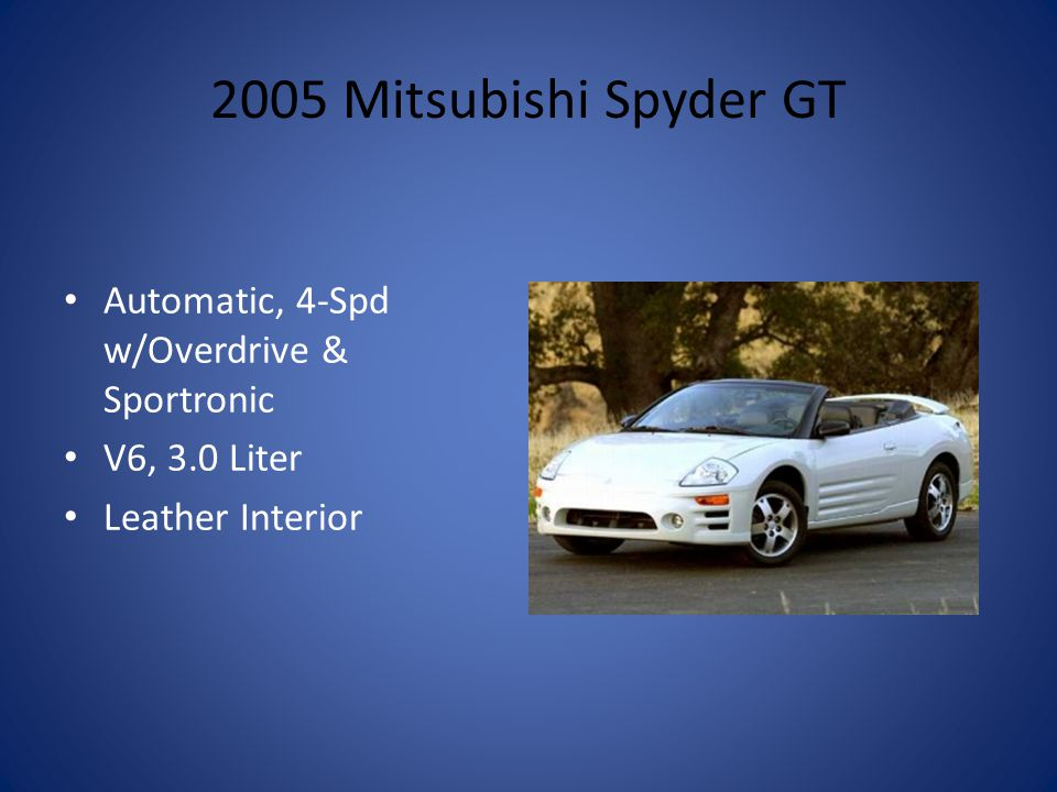 2005 Mitsubishi Spyder GT Automatic, 4-Spd w/Overdrive & Sportronic V6, 3.0 Liter Leather Interior