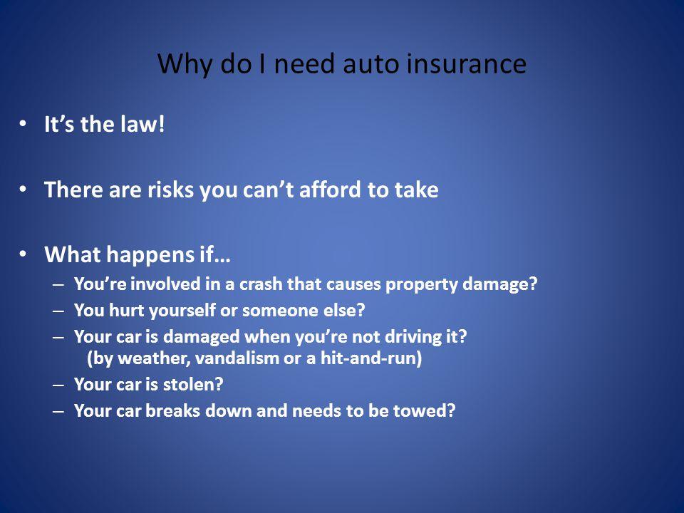 Why do I need auto insurance Its the law.