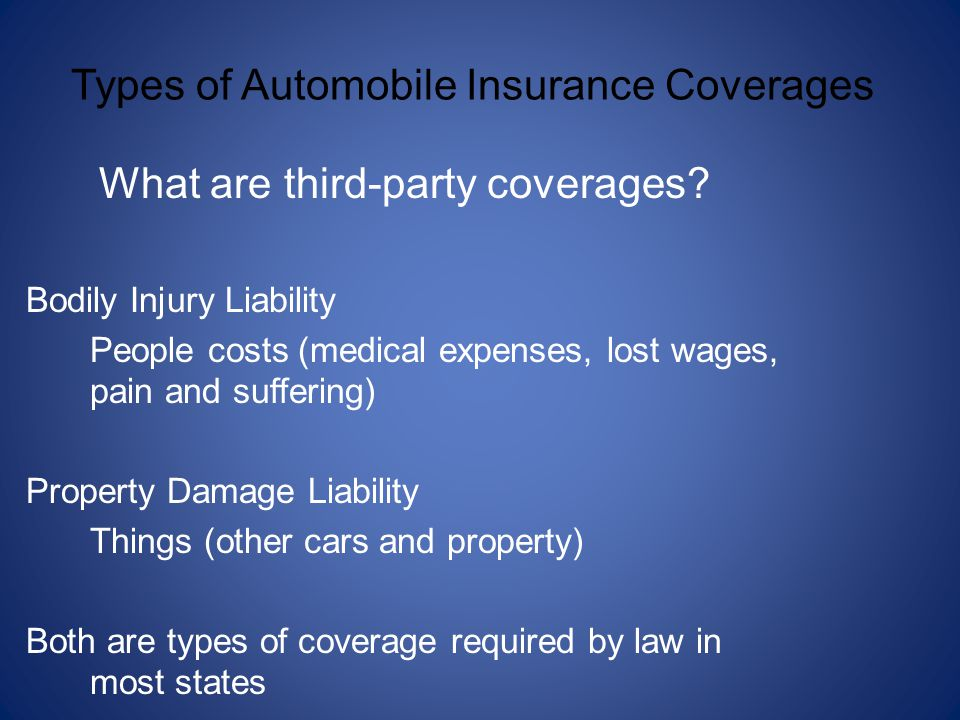 What are third-party coverages? Bodily Injury Liability People costs (medical expenses, lost wages, pain and suffering) Property Damage Liability Thin