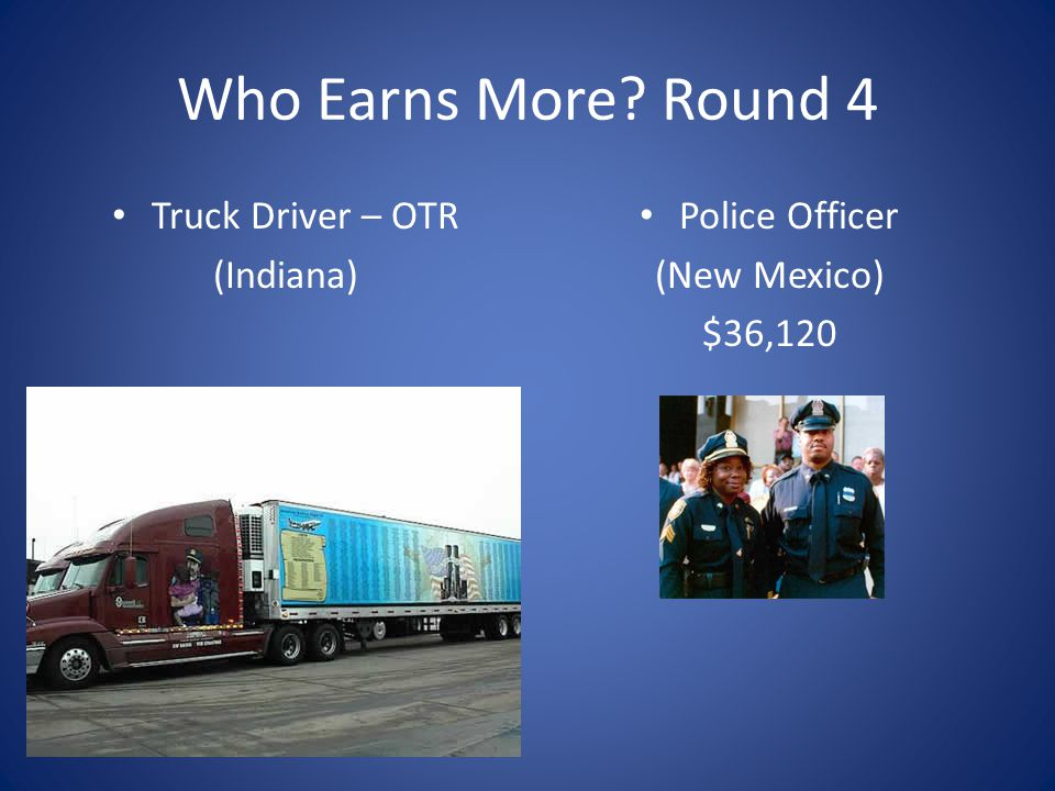 Who Earns More? Round 4 Truck Driver – OTR (Indiana) Police Officer (New Mexico) $36,120