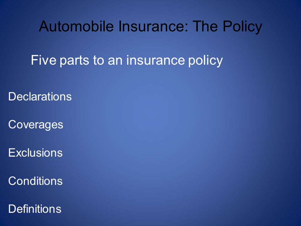 Five parts to an insurance policy Declarations Coverages Exclusions Conditions Definitions Automobile Insurance: The Policy