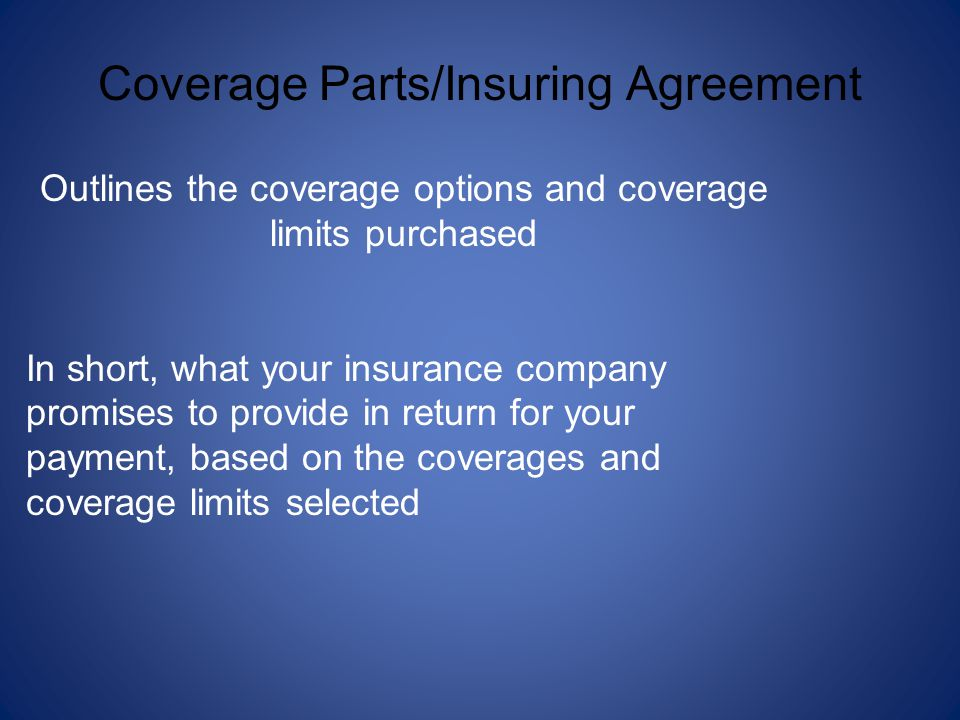 Coverage Parts/Insuring Agreement Outlines the coverage options and coverage limits purchased In short, what your insurance company promises to provid