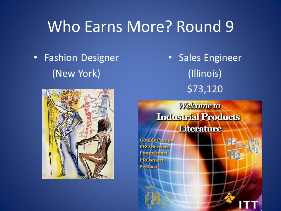 Who Earns More? Round 9 Fashion Designer (New York) Sales Engineer (Illinois) $73,120