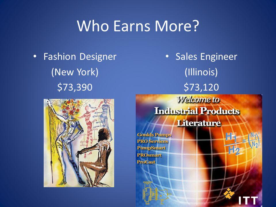 Who Earns More? Fashion Designer (New York) $73,390 Sales Engineer (Illinois) $73,120