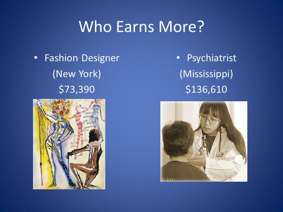 Who Earns More? Fashion Designer (New York) $73,390 Psychiatrist (Mississippi) $136,610