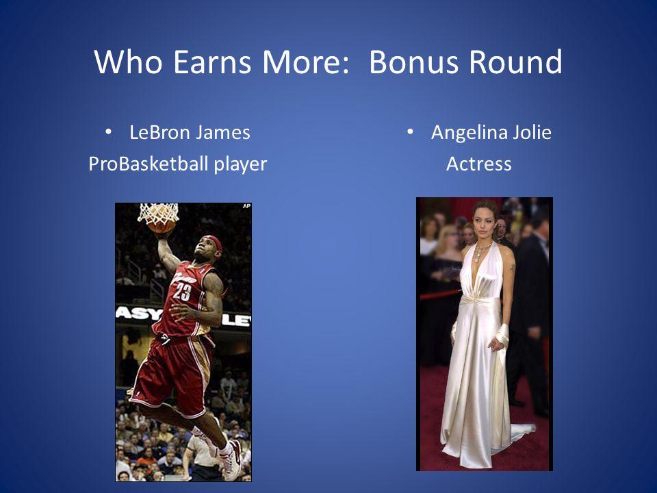 Who Earns More: Bonus Round LeBron James ProBasketball player Angelina Jolie Actress